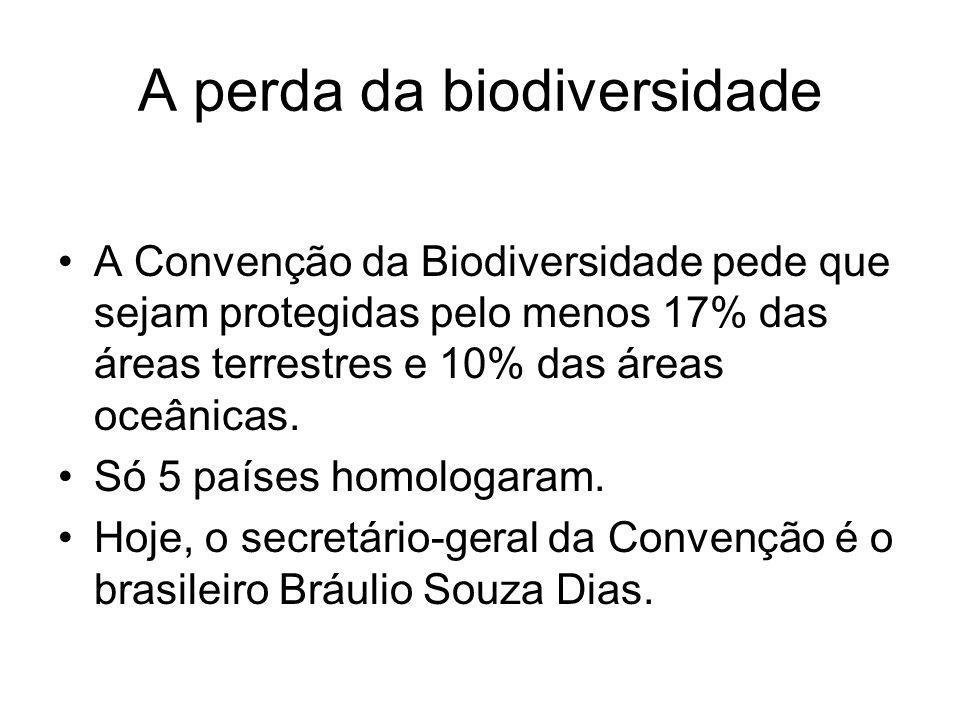 A perda da biodiversidade A Convenção da Biodiversidade pede que sejam protegidas pelo menos 17% das áreas terrestres e 10% das áreas oceânicas. Só 5