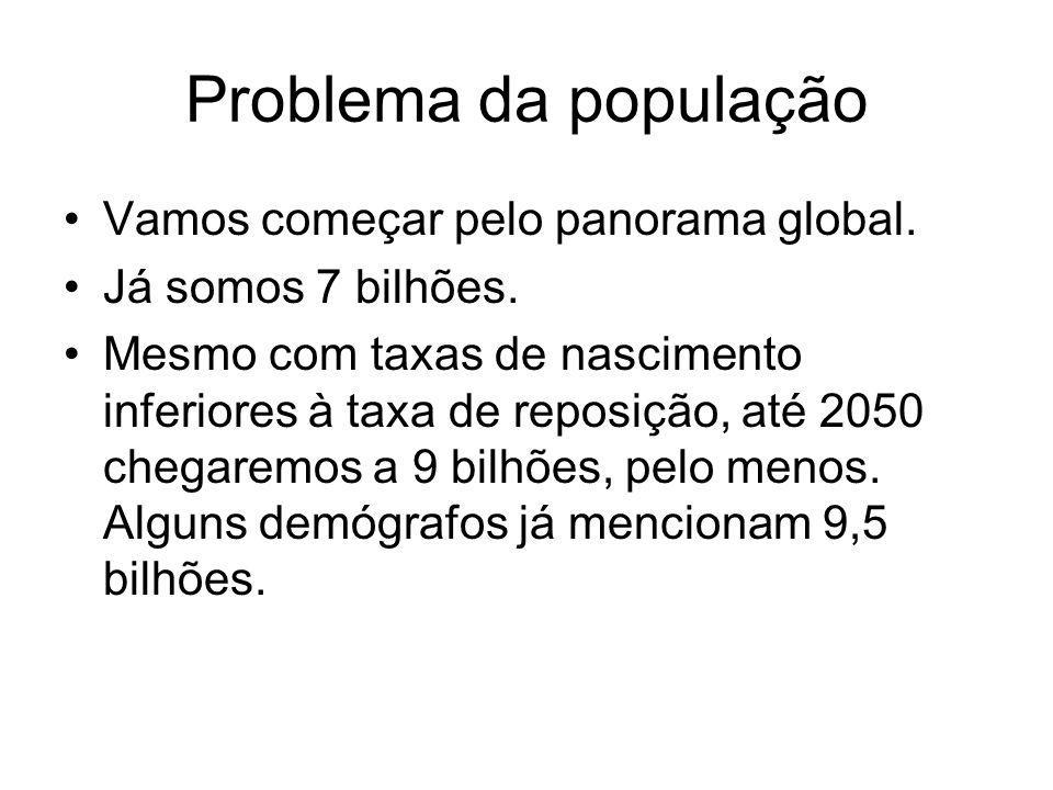 Problema da população Vamos começar pelo panorama global. Já somos 7 bilhões. Mesmo com taxas de nascimento inferiores à taxa de reposição, até 2050 c