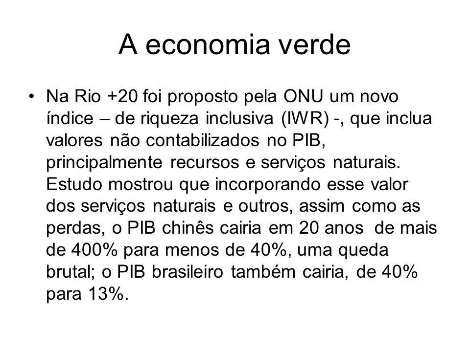 A economia verde Na Rio +20 foi proposto pela ONU um novo índice – de riqueza inclusiva (IWR) -, que inclua valores não contabilizados no PIB, princip