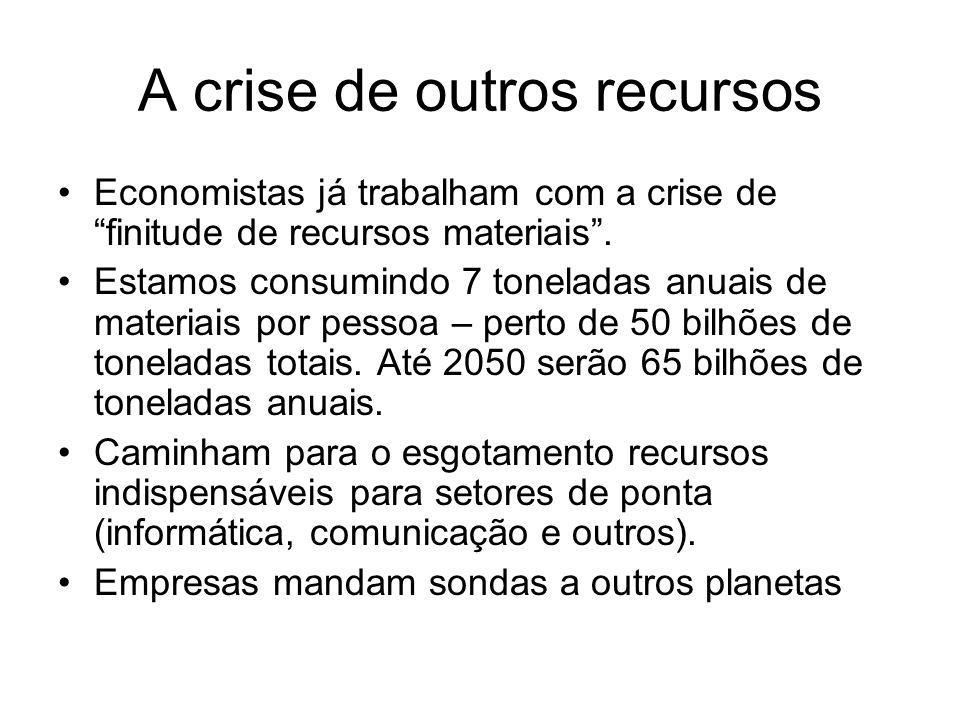 A crise de outros recursos Economistas já trabalham com a crise de finitude de recursos materiais. Estamos consumindo 7 toneladas anuais de materiais