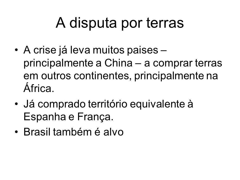 A disputa por terras A crise já leva muitos paises – principalmente a China – a comprar terras em outros continentes, principalmente na África. Já com