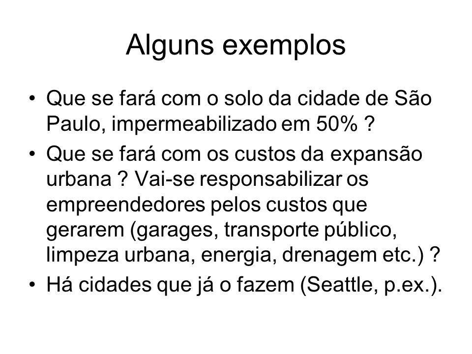 Alguns exemplos Que se fará com o solo da cidade de São Paulo, impermeabilizado em 50% ? Que se fará com os custos da expansão urbana ? Vai-se respons