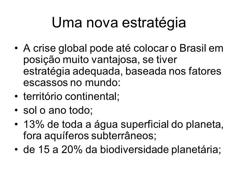 Uma nova estratégia A crise global pode até colocar o Brasil em posição muito vantajosa, se tiver estratégia adequada, baseada nos fatores escassos no