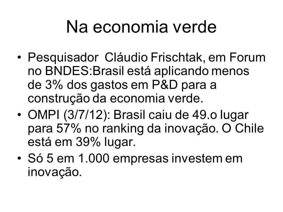 Na economia verde Pesquisador Cláudio Frischtak, em Forum no BNDES:Brasil está aplicando menos de 3% dos gastos em P&D para a construção da economia v
