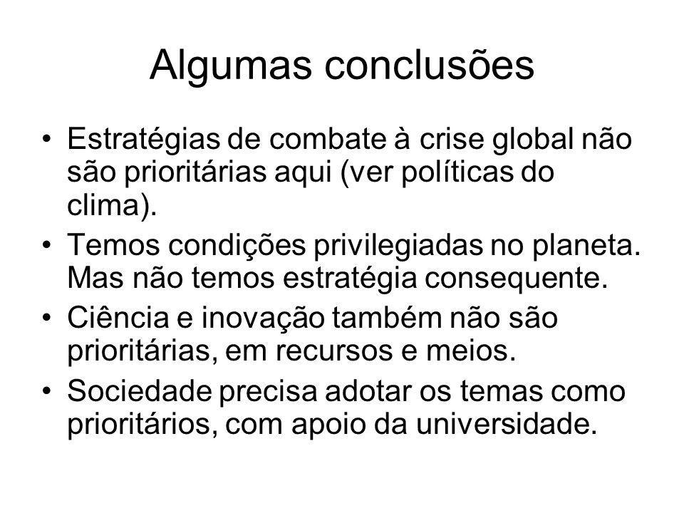 Algumas conclusões Estratégias de combate à crise global não são prioritárias aqui (ver políticas do clima). Temos condições privilegiadas no planeta.