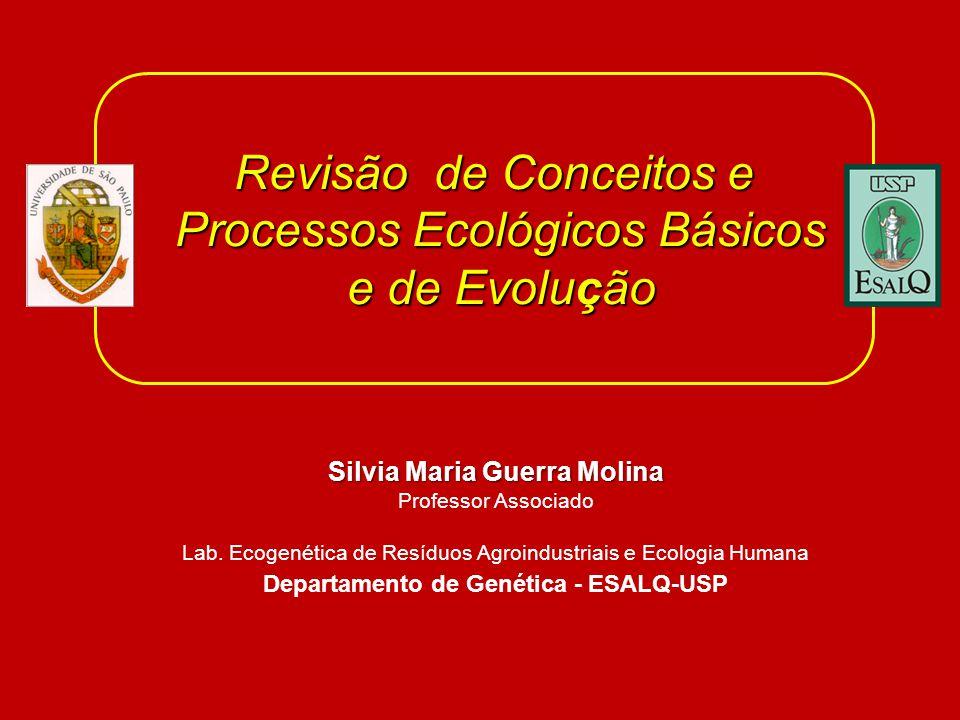 Revisão de Conceitos e Processos Ecológicos Básicos e de Evolução e de Evolução Silvia Maria Guerra Molina Professor Associado Lab. Ecogenética de Res