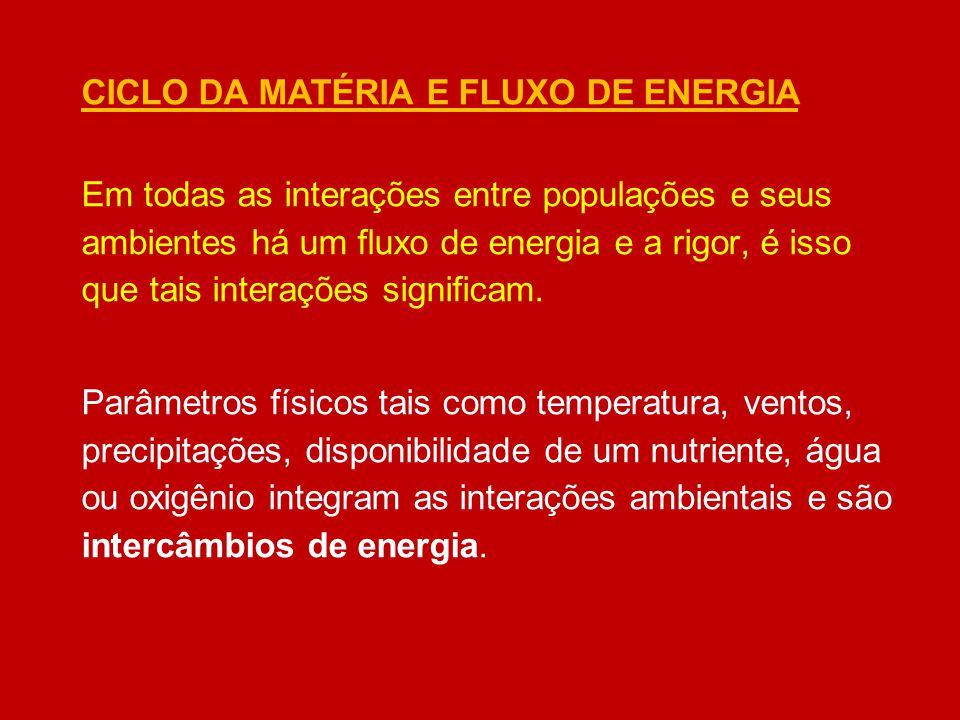 CICLO DA MATÉRIA E FLUXO DE ENERGIA Em todas as interações entre populações e seus ambientes há um fluxo de energia e a rigor, é isso que tais interaç