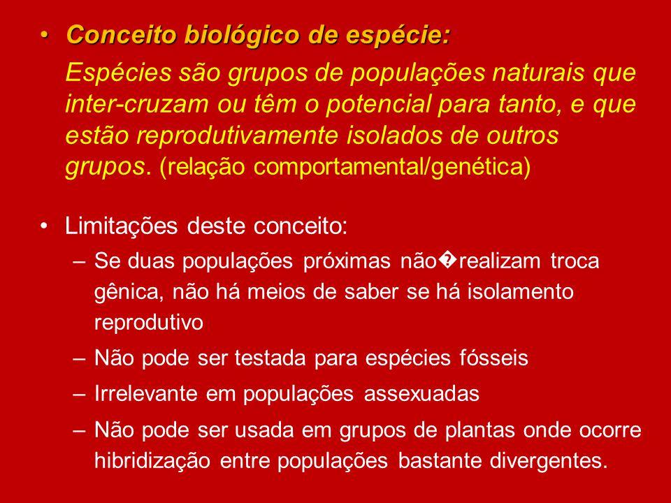 Conceito biológico de espécie:Conceito biológico de espécie: Espécies são grupos de populações naturais que inter-cruzam ou têm o potencial para tanto
