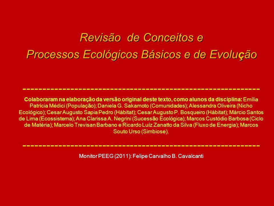Revisão de Conceitos e Processos Ecológicos Básicos e de Evolução ------------------------------------------------------------ Colaboraram na elaboraç