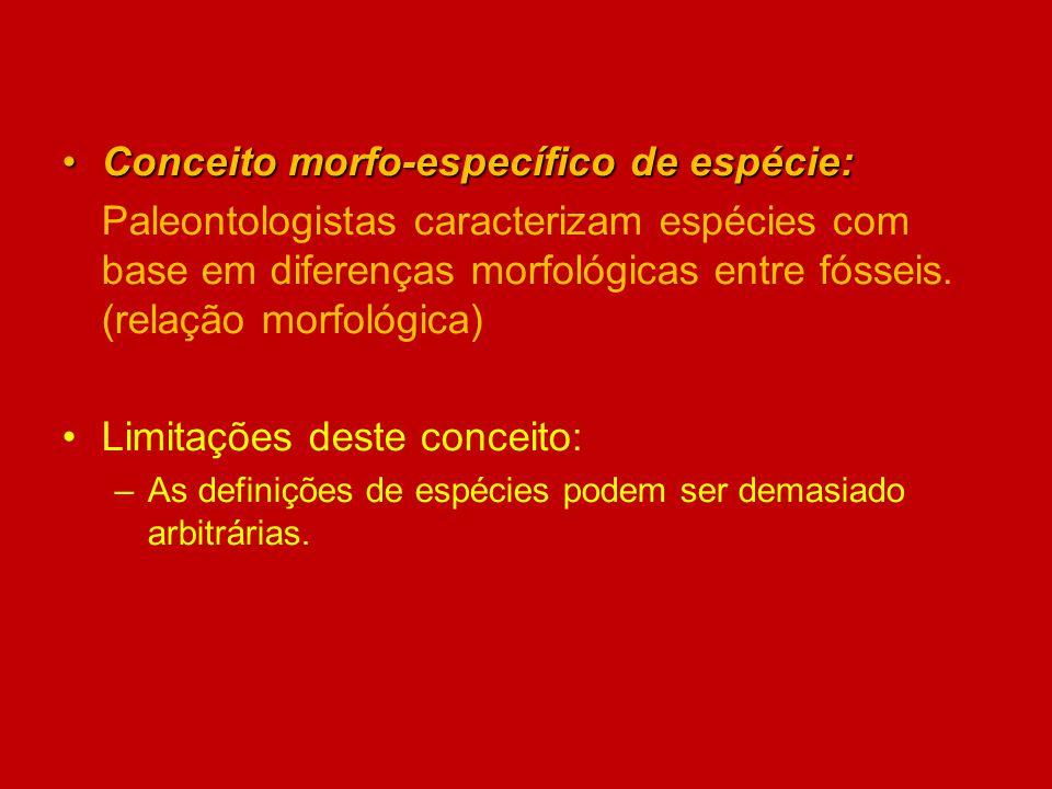 Conceito morfo-específico de espécie:Conceito morfo-específico de espécie: Paleontologistas caracterizam espécies com base em diferenças morfológicas