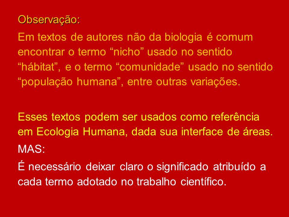 Observação: Em textos de autores não da biologia é comum encontrar o termo nicho usado no sentido hábitat, e o termo comunidade usado no sentido popul