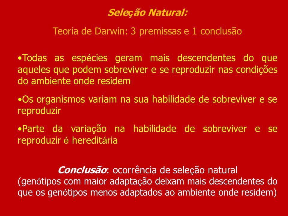 Sele ç ão Natural: Teoria de Darwin: 3 premissas e 1 conclusão Todas as esp é cies geram mais descendentes do que aqueles que podem sobreviver e se re