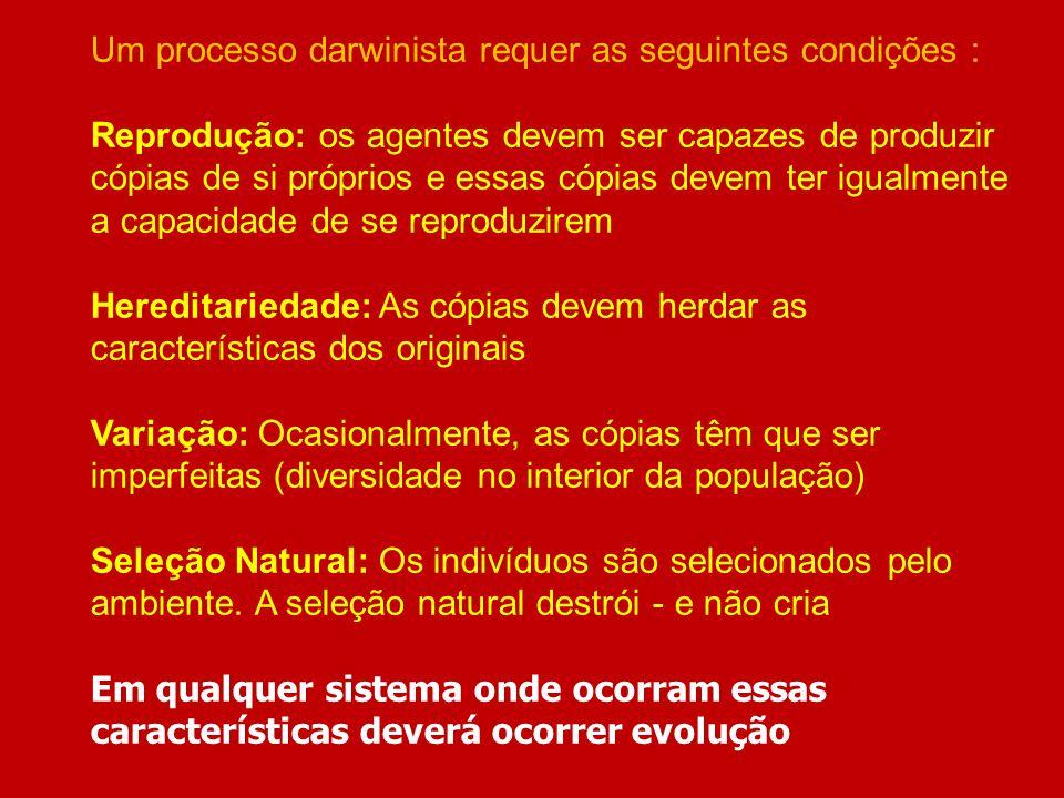 Um processo darwinista requer as seguintes condições : Reprodução: os agentes devem ser capazes de produzir cópias de si próprios e essas cópias devem