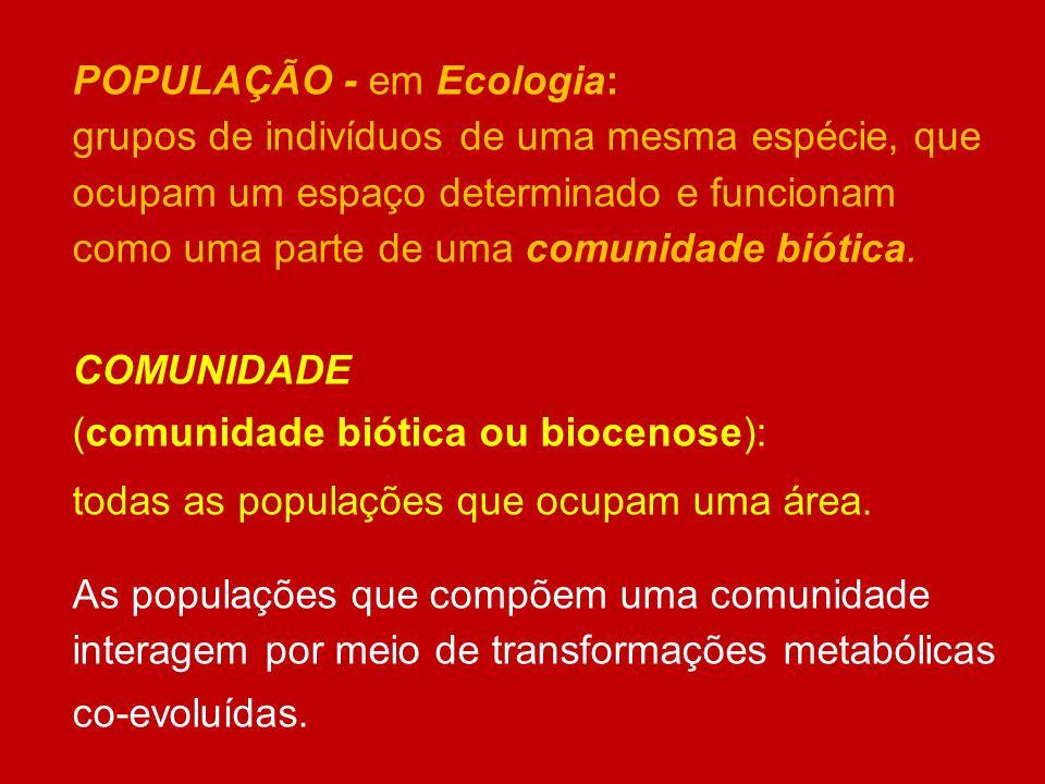 POPULAÇÃO - em Ecologia: grupos de indivíduos de uma mesma espécie, que ocupam um espaço determinado e funcionam como uma parte de uma comunidade biót