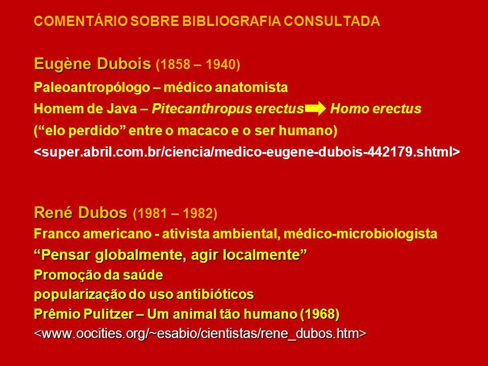 COMENTÁRIO SOBRE BIBLIOGRAFIA CONSULTADA Eugène Dubois Eugène Dubois (1858 – 1940) Paleoantropólogo – médico anatomista Homem de Java – Pitecanthropus
