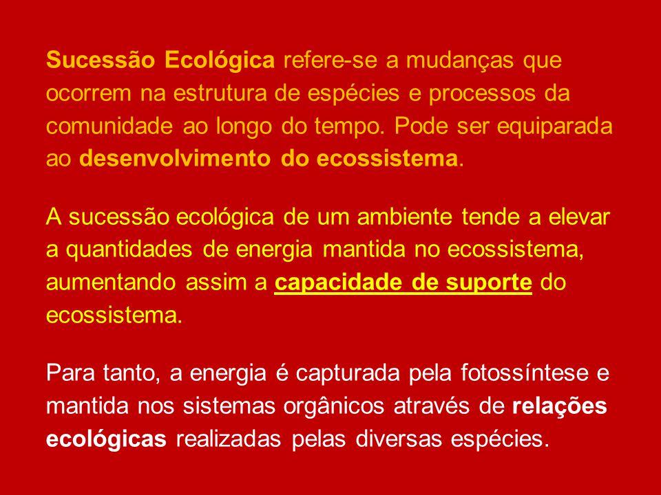 Sucessão Ecológica refere-se a mudanças que ocorrem na estrutura de espécies e processos da comunidade ao longo do tempo. Pode ser equiparada ao desen