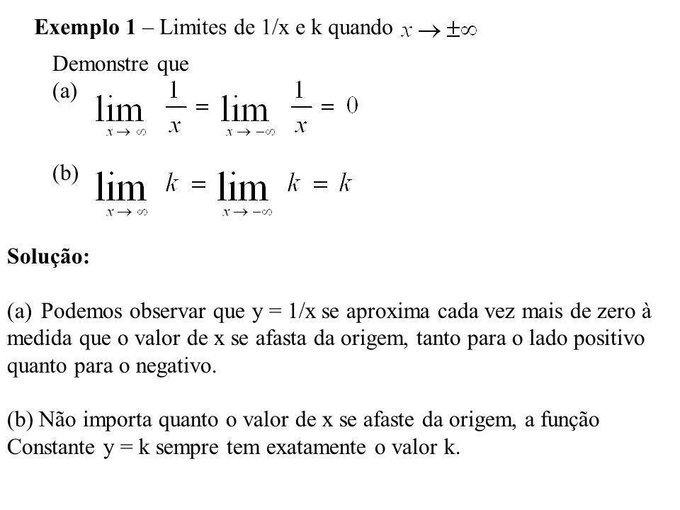 Teorema 7 – Regras para Limites quando Se L, M e k são números reais e e então 1.