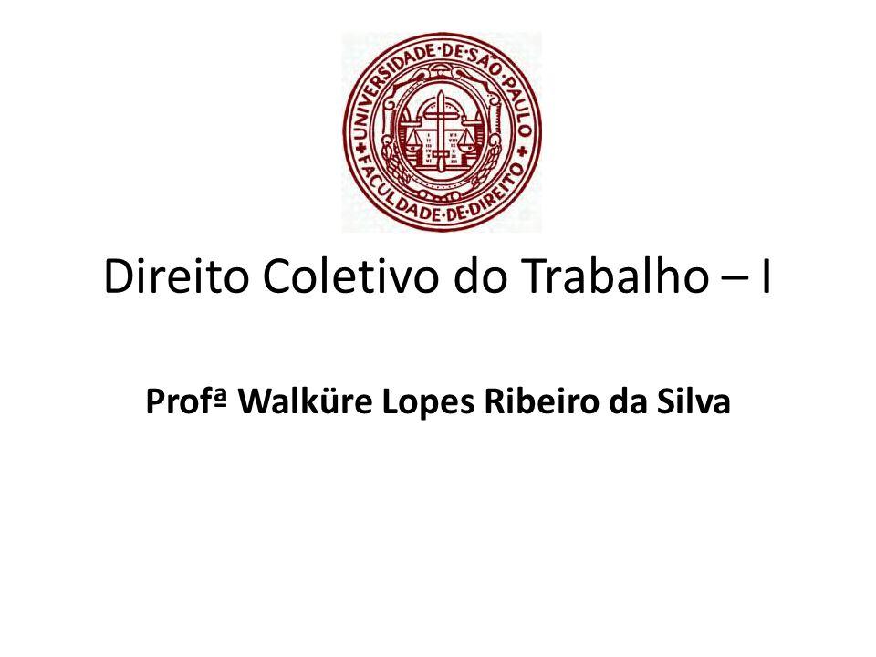 Direito Coletivo do Trabalho – I Profª Walküre Lopes Ribeiro da Silva