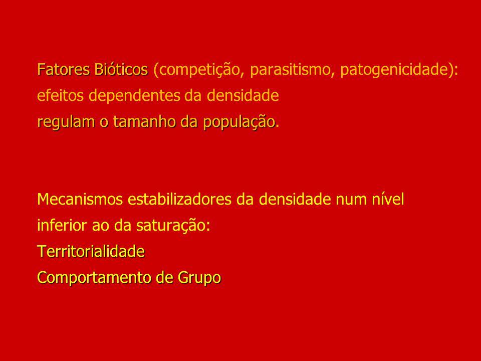 Fatores Bióticos regulam o tamanho da população Territorialidade Comportamento de Grupo Fatores Bióticos (competição, parasitismo, patogenicidade): ef
