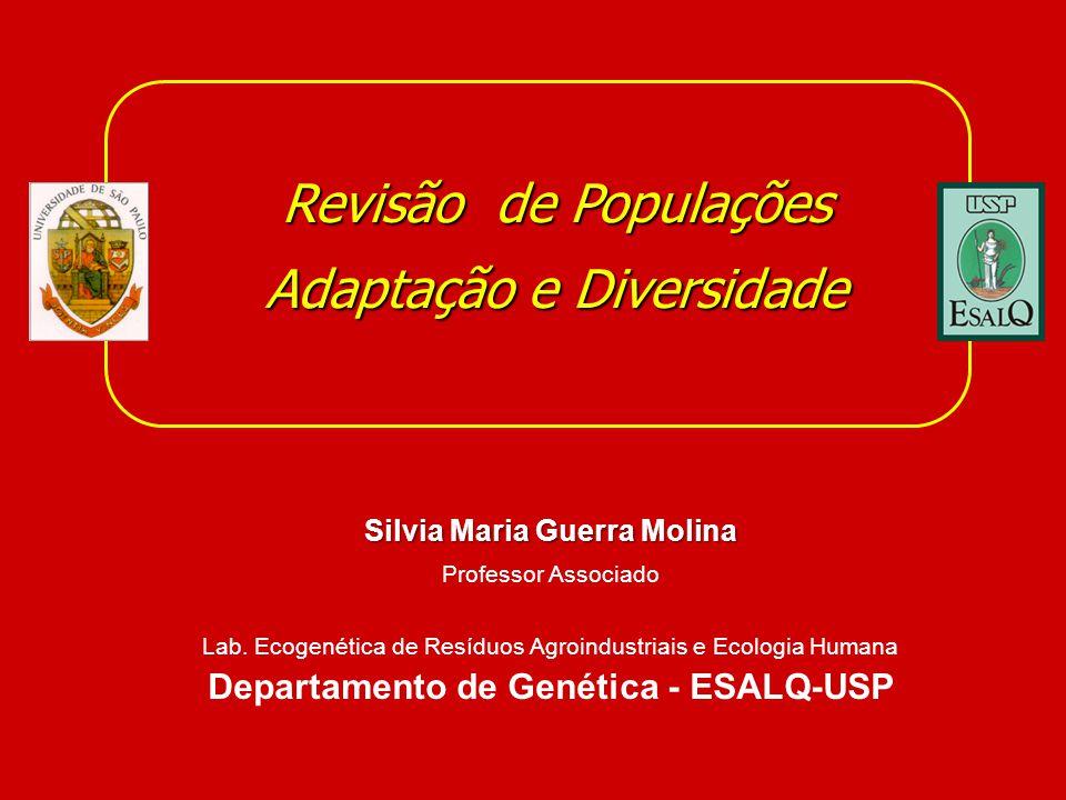 Revisão de Populações Adaptação e Diversidade Silvia Maria Guerra Molina Professor Associado Lab. Ecogenética de Resíduos Agroindustriais e Ecologia H