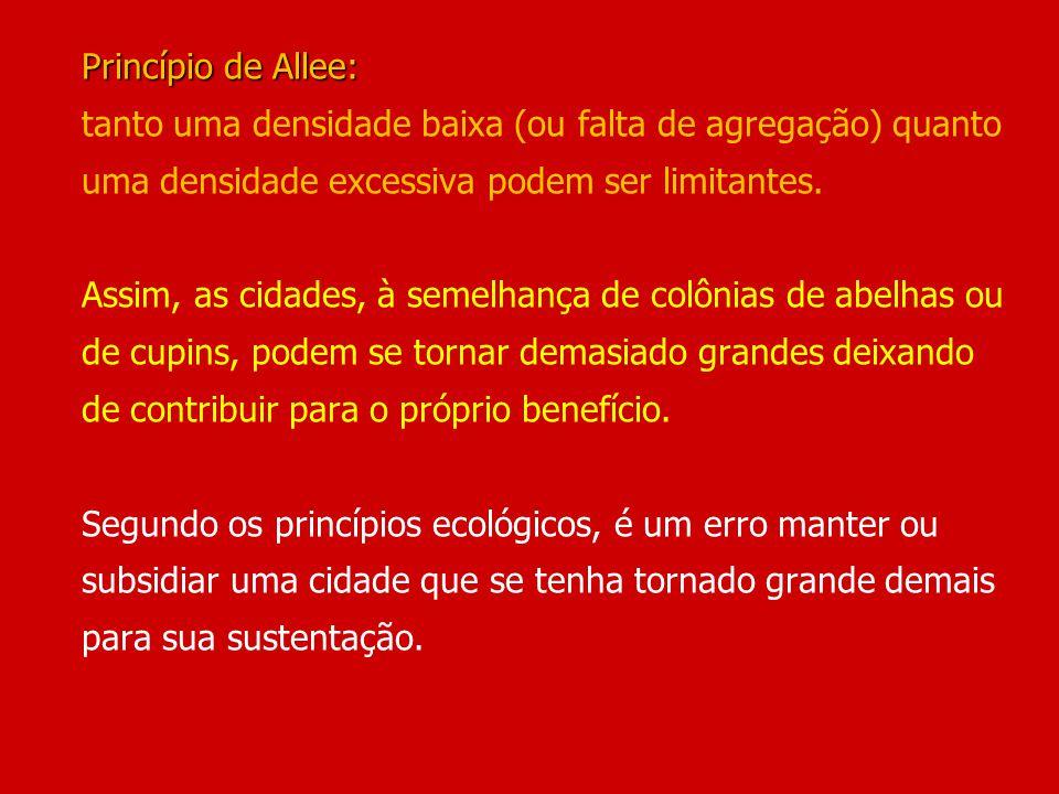 Princípio de Allee: Princípio de Allee: tanto uma densidade baixa (ou falta de agregação) quanto uma densidade excessiva podem ser limitantes. Assim,