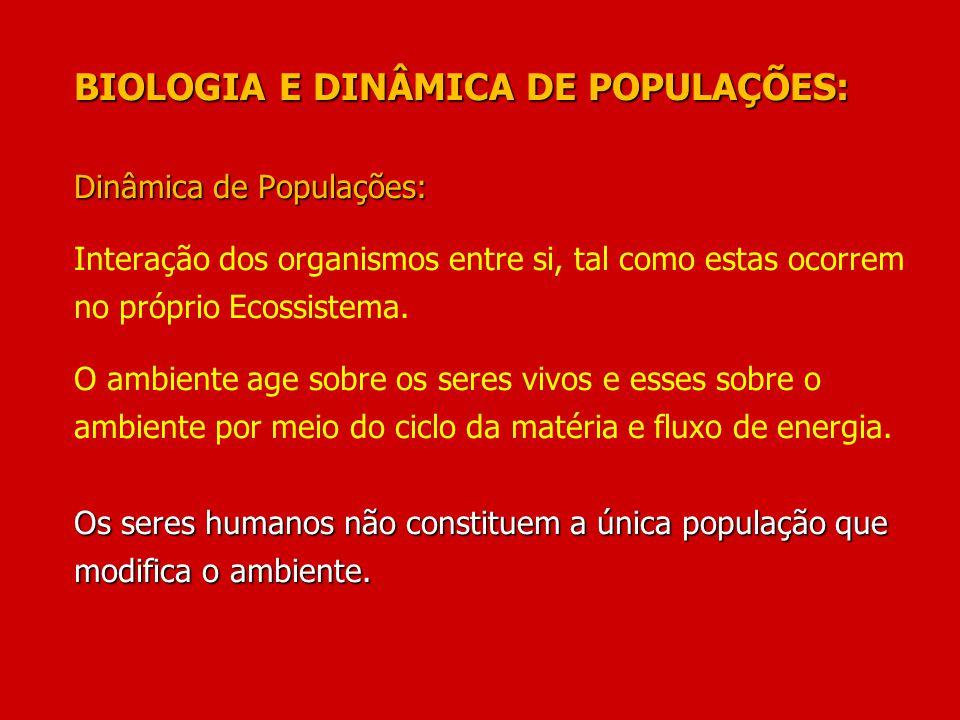 BIOLOGIA E DINÂMICA DE POPULAÇÕES: Dinâmica de Populações: Os seres humanos não constituem a única população que modifica o ambiente. BIOLOGIA E DINÂM