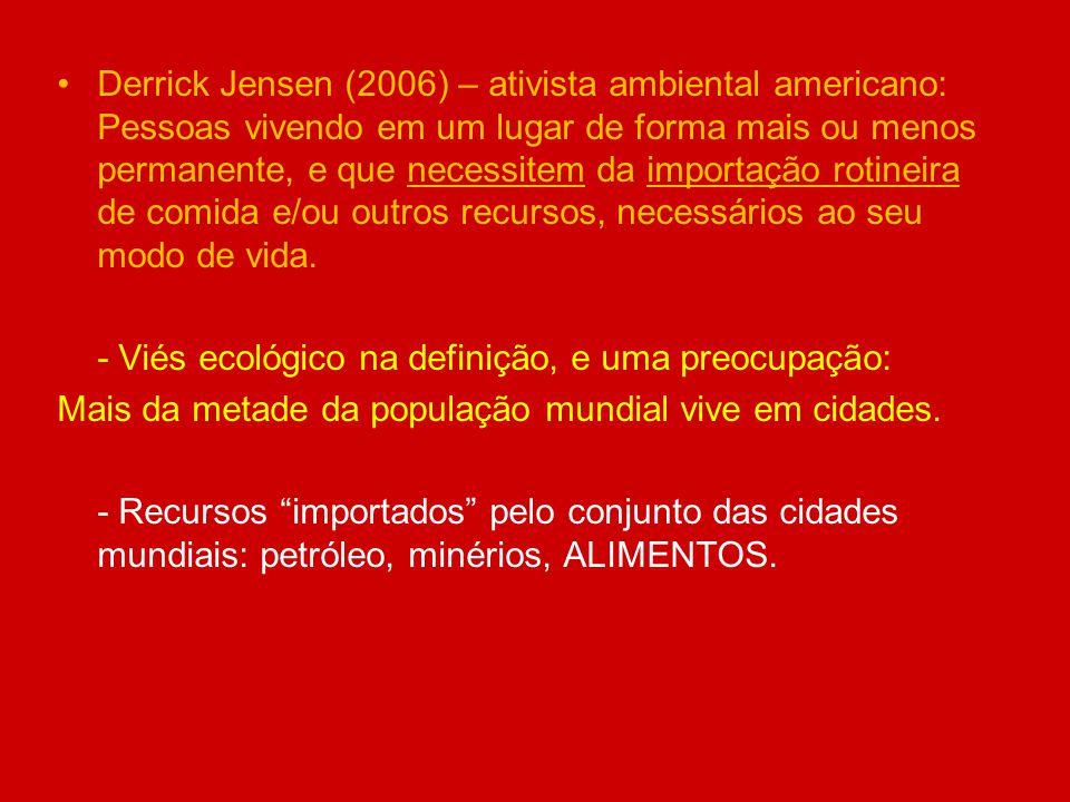 Derrick Jensen (2006) – ativista ambiental americano: Pessoas vivendo em um lugar de forma mais ou menos permanente, e que necessitem da importação ro