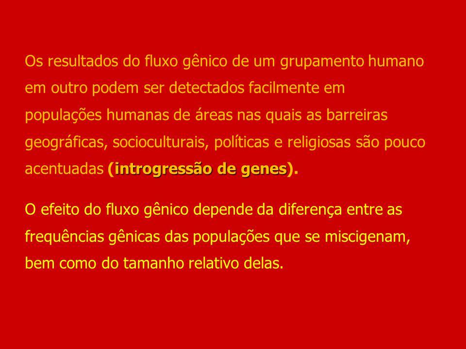 introgressão de genes Os resultados do fluxo gênico de um grupamento humano em outro podem ser detectados facilmente em populações humanas de áreas na