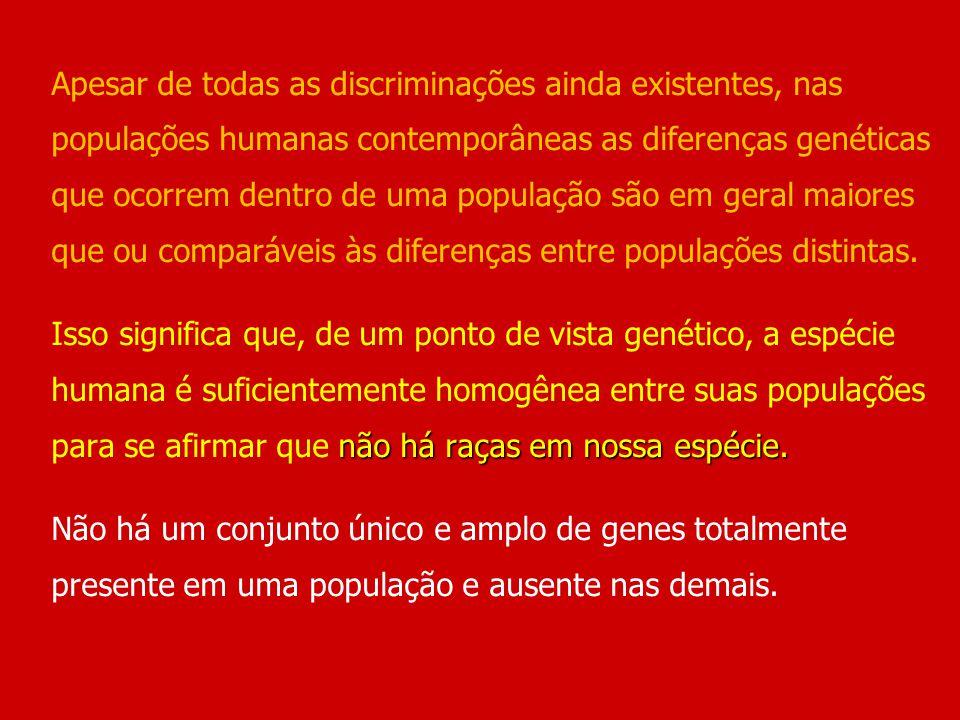 não há raças em nossa espécie. Apesar de todas as discriminações ainda existentes, nas populações humanas contemporâneas as diferenças genéticas que o