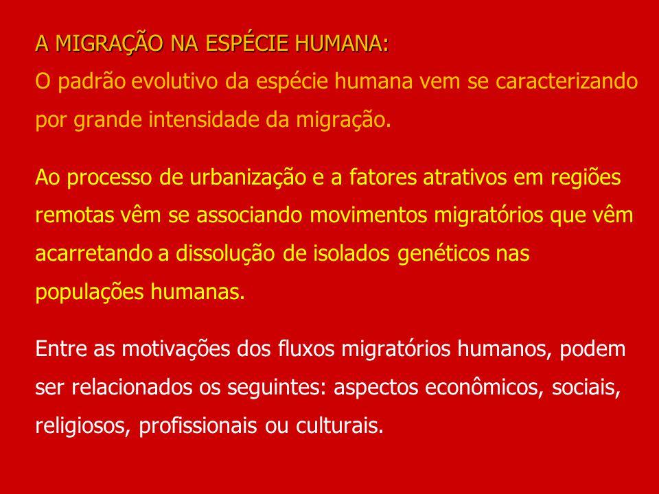 A MIGRAÇÃO NA ESPÉCIE HUMANA: A MIGRAÇÃO NA ESPÉCIE HUMANA: O padrão evolutivo da espécie humana vem se caracterizando por grande intensidade da migra