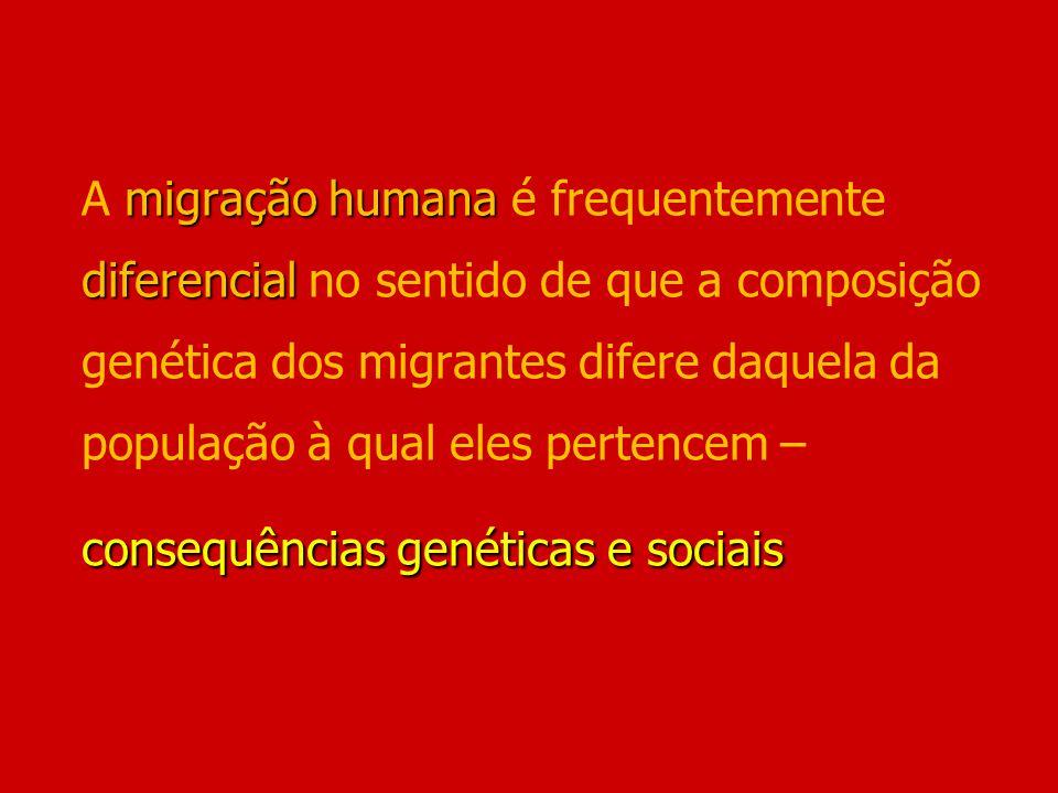 migração humana diferencial consequências genéticas e sociais A migração humana é frequentemente diferencial no sentido de que a composição genética d