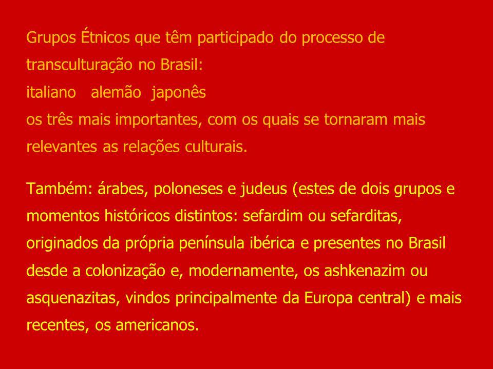 Grupos Étnicos que têm participado do processo de transculturação no Brasil: italiano alemão japonês os três mais importantes, com os quais se tornara