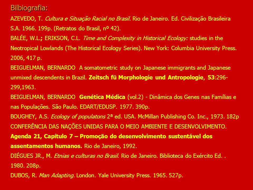 Bilbiografia: Bilbiografia: AZEVEDO, T. Cultura e Situação Racial no Brasil. Rio de Janeiro. Ed. Civilização Brasileira S.A. 1966. 199p. (Retratos do