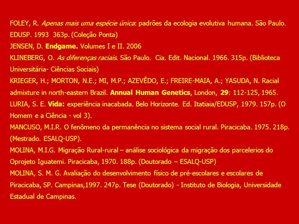 FOLEY, R. Apenas mais uma espécie única: padrões da ecologia evolutiva humana. São Paulo. EDUSP. 1993 363p. (Coleção Ponta) JENSEN, D. Endgame. Volume
