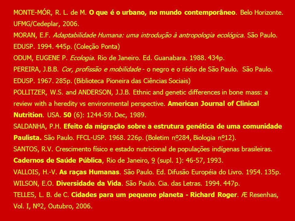 MONTE-MÓR, R. L. de M. O que é o urbano, no mundo contemporâneo. Belo Horizonte. UFMG/Cedeplar, 2006. MORAN, E.F. Adaptabilidade Humana: uma introduçã