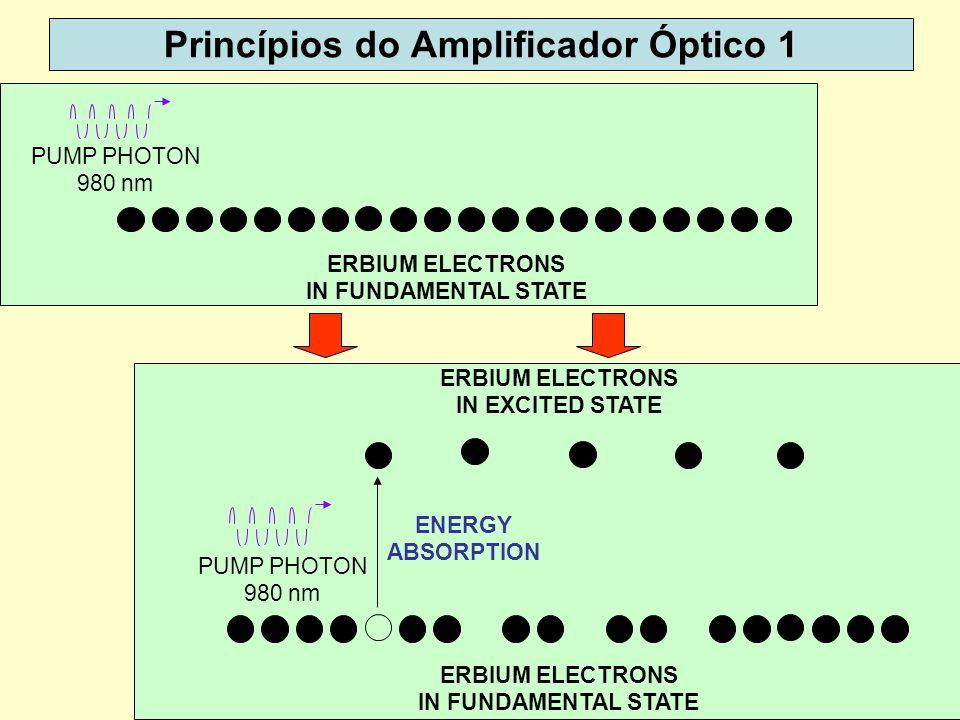 50 ERBIUM ELECTRONS IN FUNDAMENTAL STATE PUMP PHOTON 980 nm Princípios do Amplificador Óptico 1 PUMP PHOTON 980 nm ENERGY ABSORPTION ERBIUM ELECTRONS