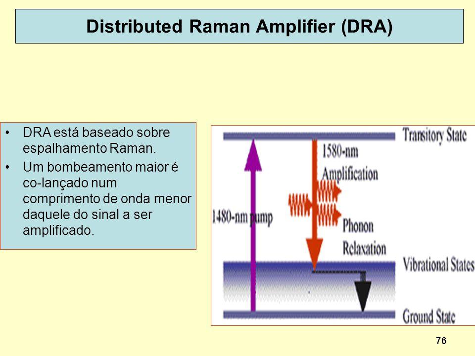 76 Distributed Raman Amplifier (DRA) DRA está baseado sobre espalhamento Raman. Um bombeamento maior é co-lançado num comprimento de onda menor daquel