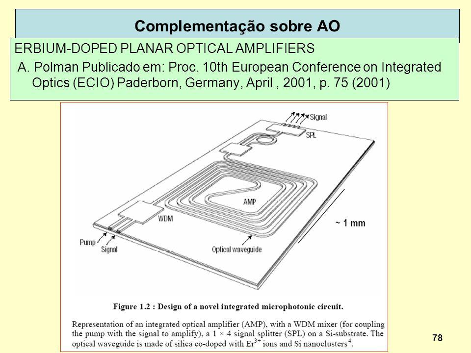 78 Complementação sobre AO ERBIUM-DOPED PLANAR OPTICAL AMPLIFIERS A. Polman Publicado em: Proc. 10th European Conference on Integrated Optics (ECIO) P