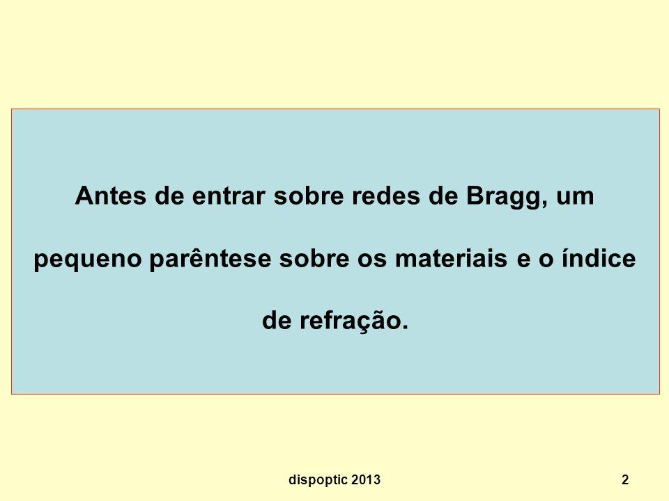 Antes de entrar sobre redes de Bragg, um pequeno parêntese sobre os materiais e o índice de refração.