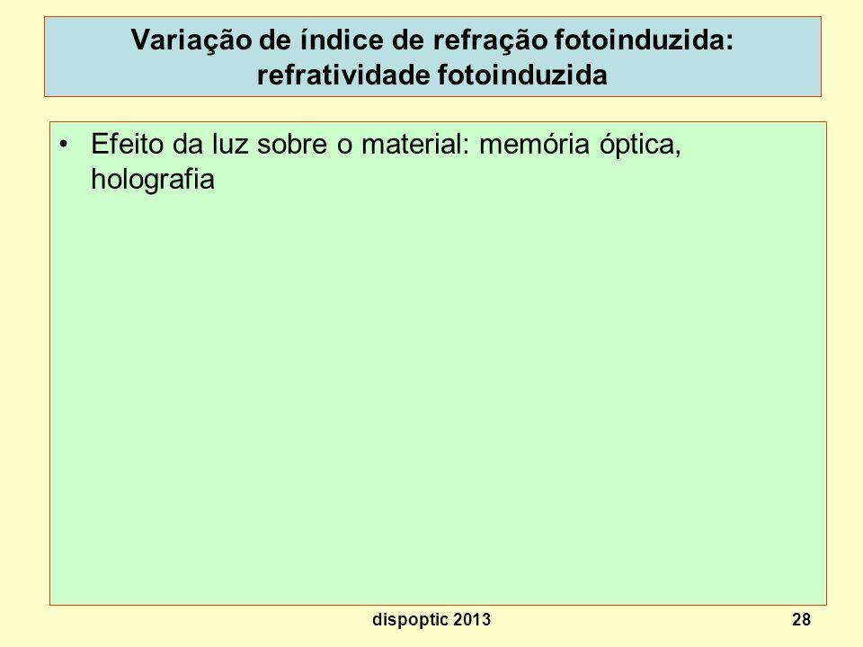 28 Variação de índice de refração fotoinduzida: refratividade fotoinduzida n1n1 n2n2 n 1 > ou < n 2 dispoptic 2013 Efeito da luz sobre o material: memória óptica, holografia