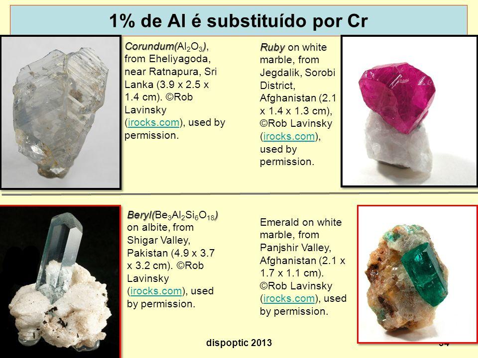 1% de Al é substituído por Cr 34 Corundum() Corundum(Al 2 O 3 ), from Eheliyagoda, near Ratnapura, Sri Lanka (3.9 x 2.5 x 1.4 cm).