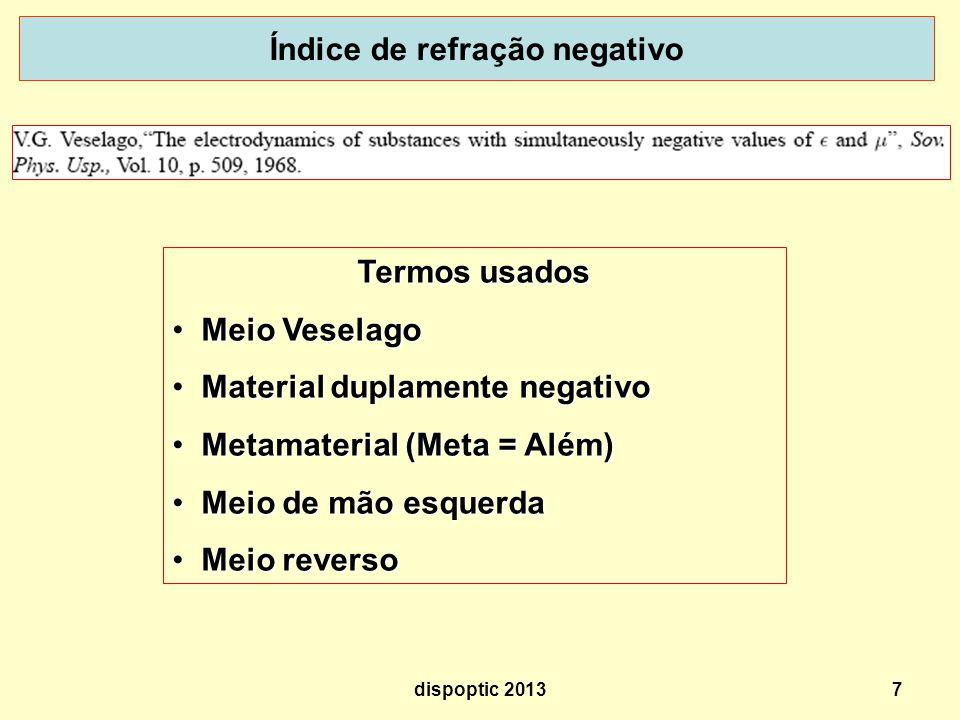 7 Índice de refração negativo Termos usados Meio Veselago Meio Veselago Material duplamente negativo Material duplamente negativo Metamaterial (Meta = Além) Metamaterial (Meta = Além) Meio de mão esquerda Meio de mão esquerda Meio reverso Meio reverso dispoptic 2013