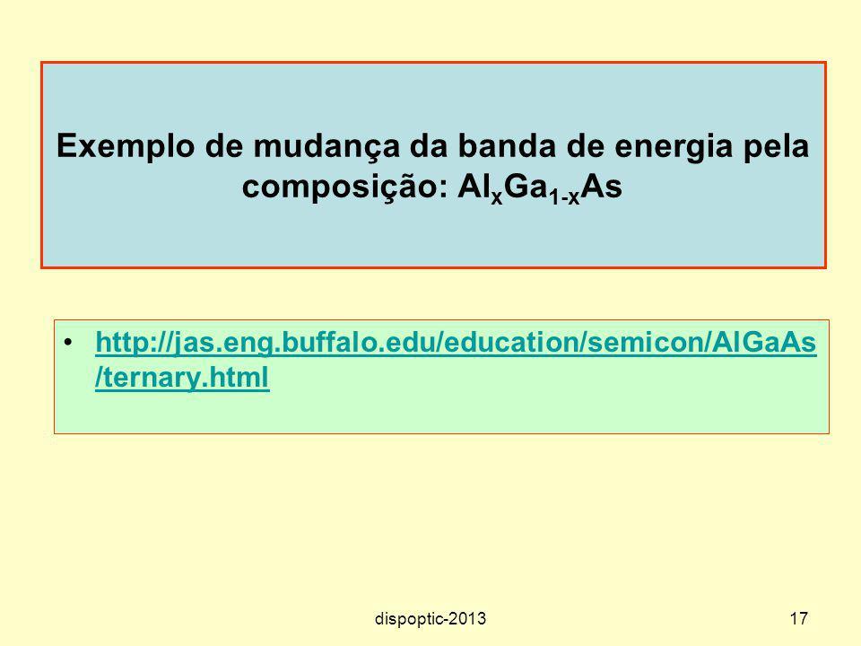 17 Exemplo de mudança da banda de energia pela composição: Al x Ga 1-x As http://jas.eng.buffalo.edu/education/semicon/AlGaAs /ternary.htmlhttp://jas.