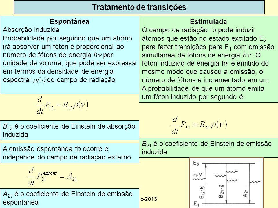 32 Tratamento de transições Estimulada O campo de radiação tb pode induzir átomos que estão no estado excitado E 2 para fazer transições para E 1 com