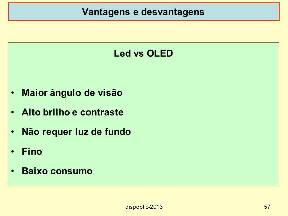 57 Vantagens e desvantagens Led vs OLED Maior ângulo de visão Alto brilho e contraste Não requer luz de fundo Fino Baixo consumo dispoptic-2013