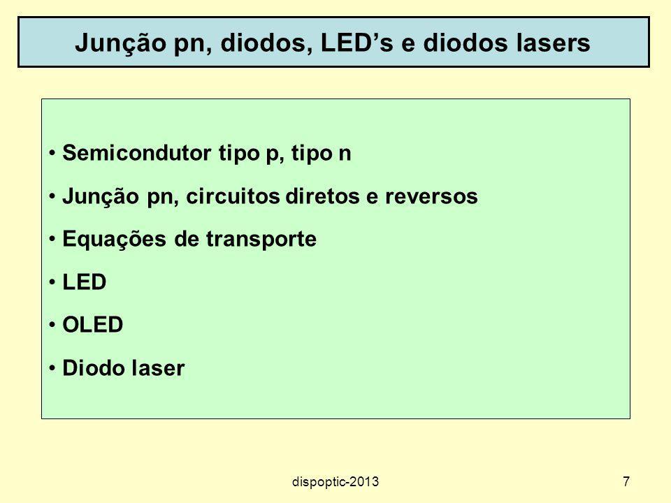 7 Junção pn, diodos, LEDs e diodos lasers Semicondutor tipo p, tipo n Junção pn, circuitos diretos e reversos Equações de transporte LED OLED Diodo la