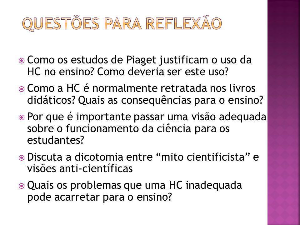 Como os estudos de Piaget justificam o uso da HC no ensino? Como deveria ser este uso? Como a HC é normalmente retratada nos livros didáticos? Quais a