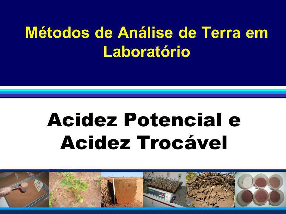 Componentes da Acidez do Solo Determinação do pH; Determinação da Acidez potencial (H+Al); Determinação do Alumínio trocável (Al 3+ ) Leitura auxiliar: Leitura auxiliar: Raij, B.