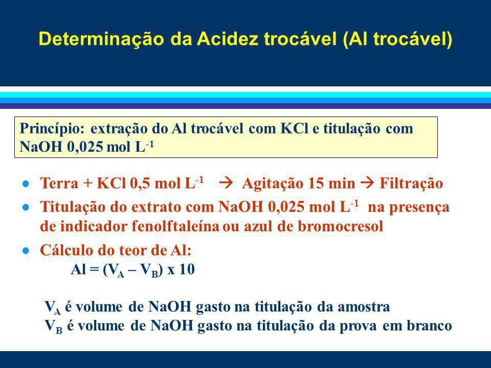 Determinação da Acidez trocável (Al trocável) l Terra + KCl 0,5 mol L -1 Agitação 15 min Filtração l Titulação do extrato com NaOH 0,025 mol L -1 na p