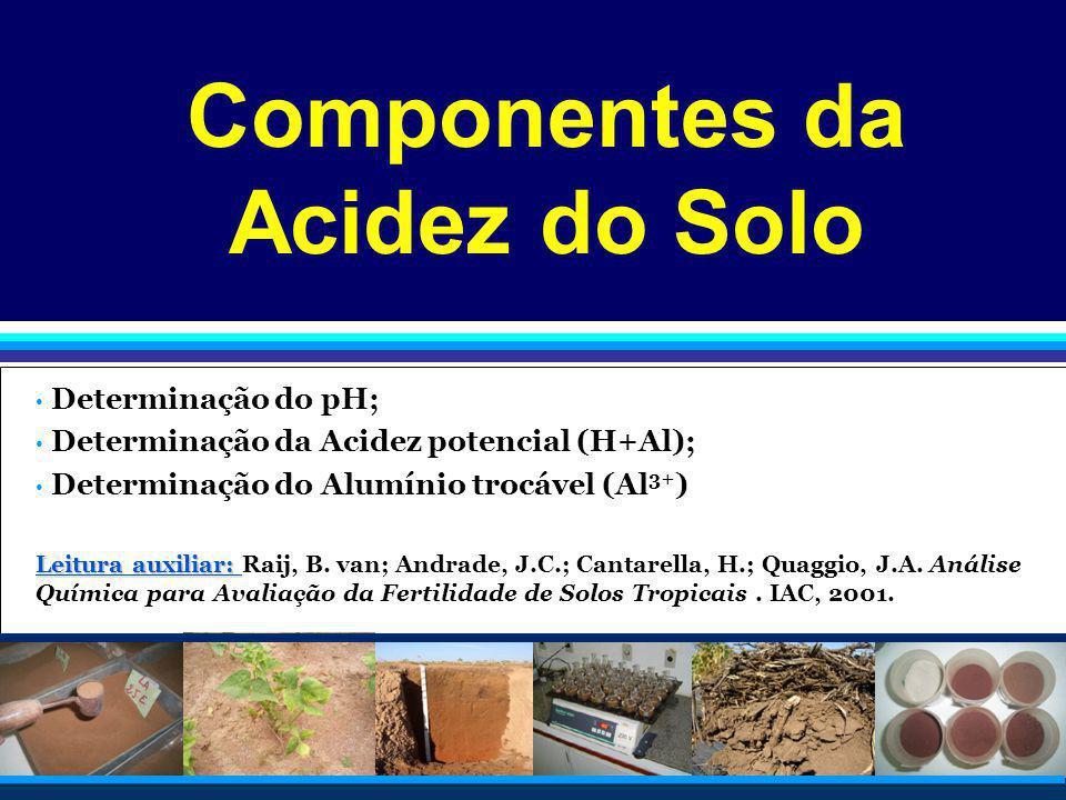 Componentes da Acidez do Solo Determinação do pH; Determinação da Acidez potencial (H+Al); Determinação do Alumínio trocável (Al 3+ ) Leitura auxiliar